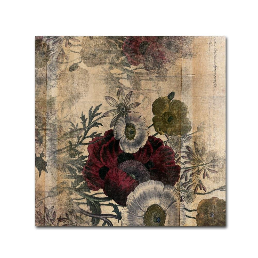 Floral Collage Burgundy Bloom by Marcee Duggar, 18x18-Inch Canvas Wall Art