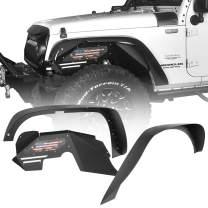 Hooke Road Flat Fender Flares + Front Inner Fender Liners Kit Compatible with Jeep Wrangler JK & Unlimited 2007-2018 2/4 Doors
