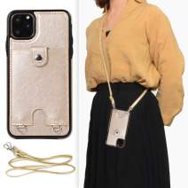DEFBSC iPhone 11 Crossbody Wallet Case,Premium Leather Case with Detachable Adjustable Crossbody Strap and Credit Card Slots for iPhone 11 6.1 Inch-Gold