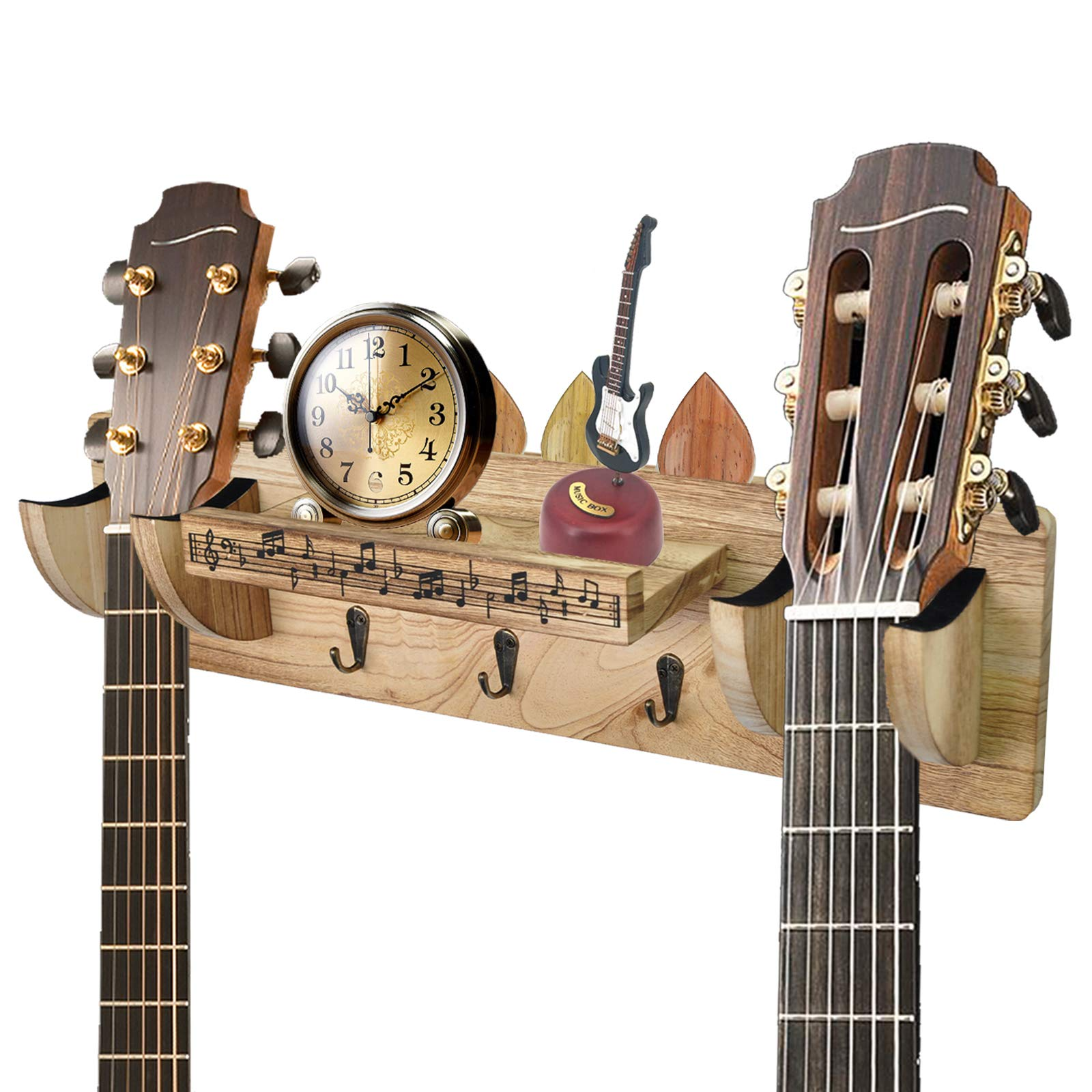 Double Guitar Holder Wall Mount, Guitar Wall Hanger Guitar Stand Guitar Wall Mount Bracket with Guitar Accessories Storage Shelf and 3 Metal Hooks, Suitable for Various Places
