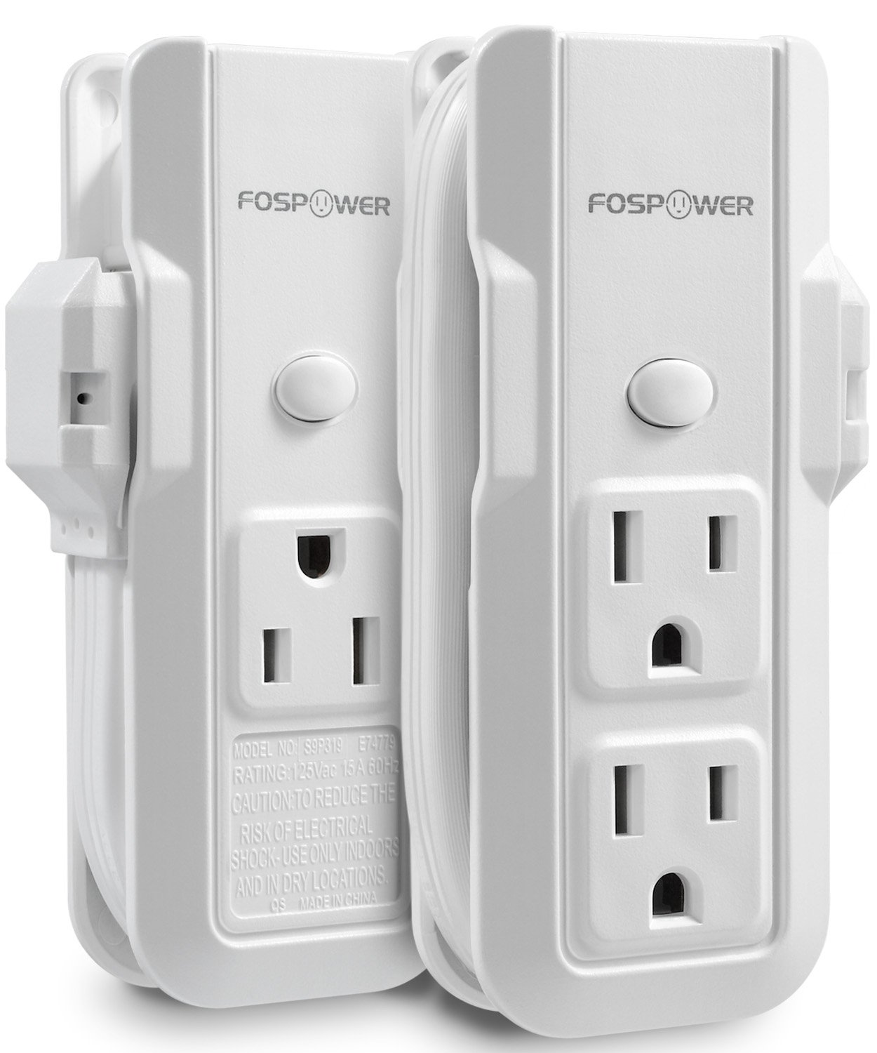 FosPower (2 Pack) 3-Outlet Mini Power Strip with 10inch Wraparound Extension Cord & 90 Degree Plug Adapter Wall Tap for Home Office & Travel (White)