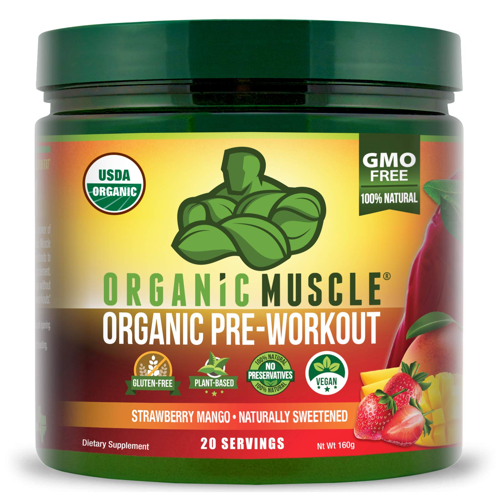 ORGANIC MUSCLE #1 Rated Organic Pre Workout Powder – **New Flavor** Natural Vegan Keto Pre-Workout & Organic Energy Supplement for Men & Women- Non-GMO, Paleo, Plant Based – Strawberry Mango – 160g