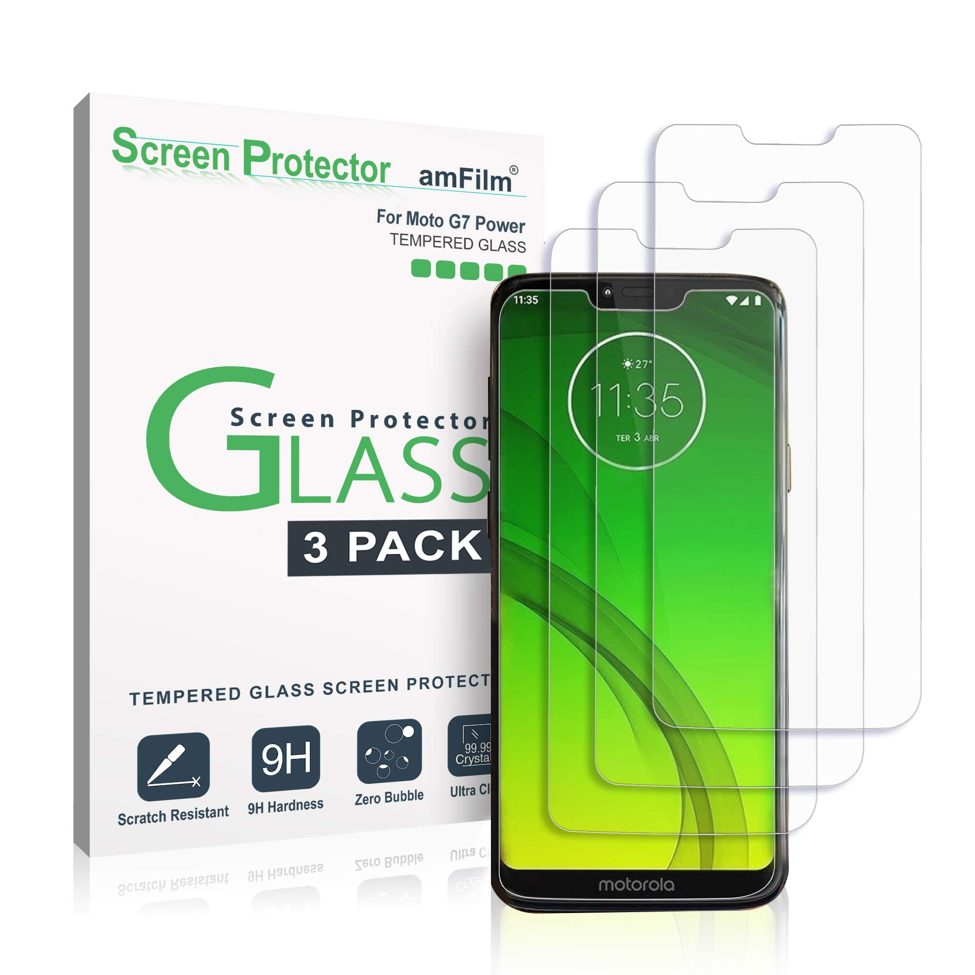 amFilm Tempered Glass Screen Protector for Motorla Moto G7 Power (3 Pack)