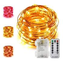 ER CHEN 33Ft 100 LED String Lights, Battery Operated Copper Wire Color Changing Christmas Fairy Lights with 8 Modes Remote Control Timer for Bedroom, Patio, Wedding and Party (Warm White & Pink)
