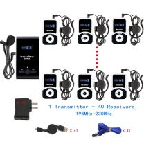EXMAX ATG-100T 195-230MHz Wireless Tour Guide Monitoring System Microphone Earphone Headset for Church Simultaneous Interpreting Teaching Conference Travel Interpretation(1 Transmitter 40 Receivers)