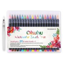 Ohuhu 18 Colors Watercolor Brush Marker Pens W/A Water Coloring Brush, Soft Flexible Tip for Adult Coloring Books, Manga, Comic, Calligraphy