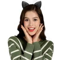 Glitter Cat Ears Headband for Halloween Cosplay Costume Accessories Black