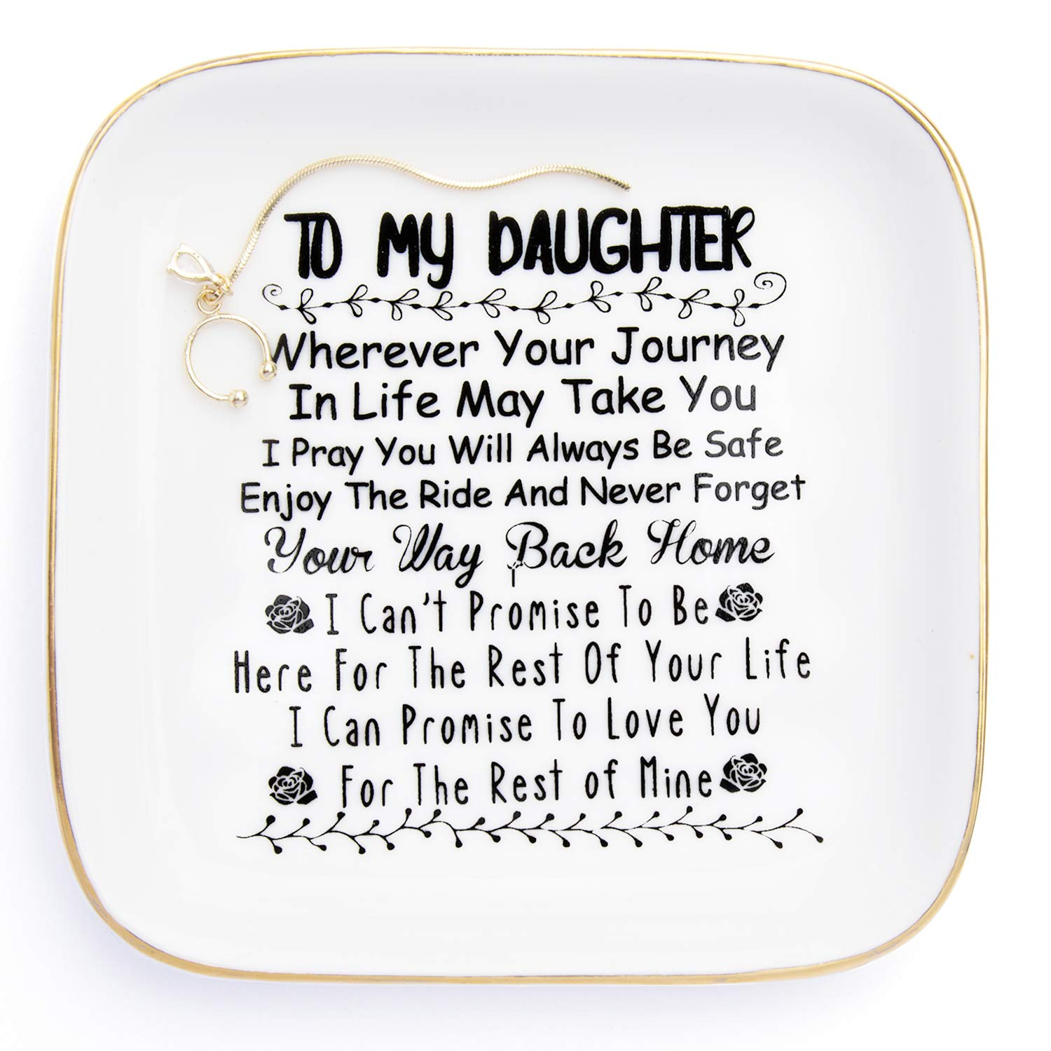 "Daughter Gifts from Mom ""to My Daughter"" - Jewelry Ring Dish for My Girls - Thoughtful Gifts for Daughter Birthday, Mothers Day,Valentine's Day, Graduation Gift for Daughter Girls"