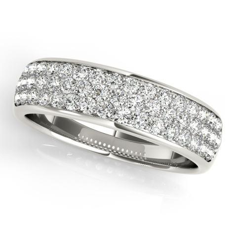 0.65 Round Cut Wedding Promise Bridal Engagement Band 14K White Gold
