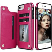 iPhone 6S Wallet Case,iPhone 6 Leather Case with Card Holder,Auker Shockproof Folio Flip Stand Rugged Protective Magnetic Slim Fit Purse Wallet Case with Money Pocket for Women/Men iPhone 6S/6 (Rose)