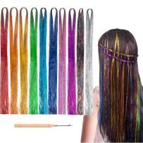 """Kyerivs Hair Tinsel Sparkling Shiny Hair Tinsel Extension 6000 Strands 47"""" Mermaid Fairy Hair Tinsel Kit 10 Colors Synthetic Highlights Glitter Halloween Cosplay Dress up Rainbow Hairpieces 10 packs"""