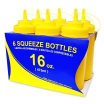 New Star Foodservice 26528 Plastic Squeeze Bottles with Caps, Wide Mouth, 16 oz, Yellow, Pack of 6