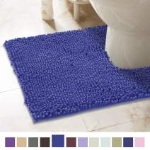 ITSOFT Non-Slip Shaggy Chenille Toilet Contour Bathroom Rug with Water Absorbent, Machine Washable, 21 x 24 Inches U-Shaped Royal Blue