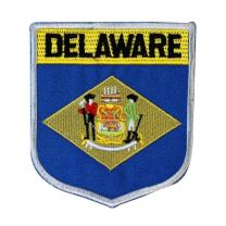 State Flag Shield Delaware Patch Badge Travel Embroidered Sew On Applique