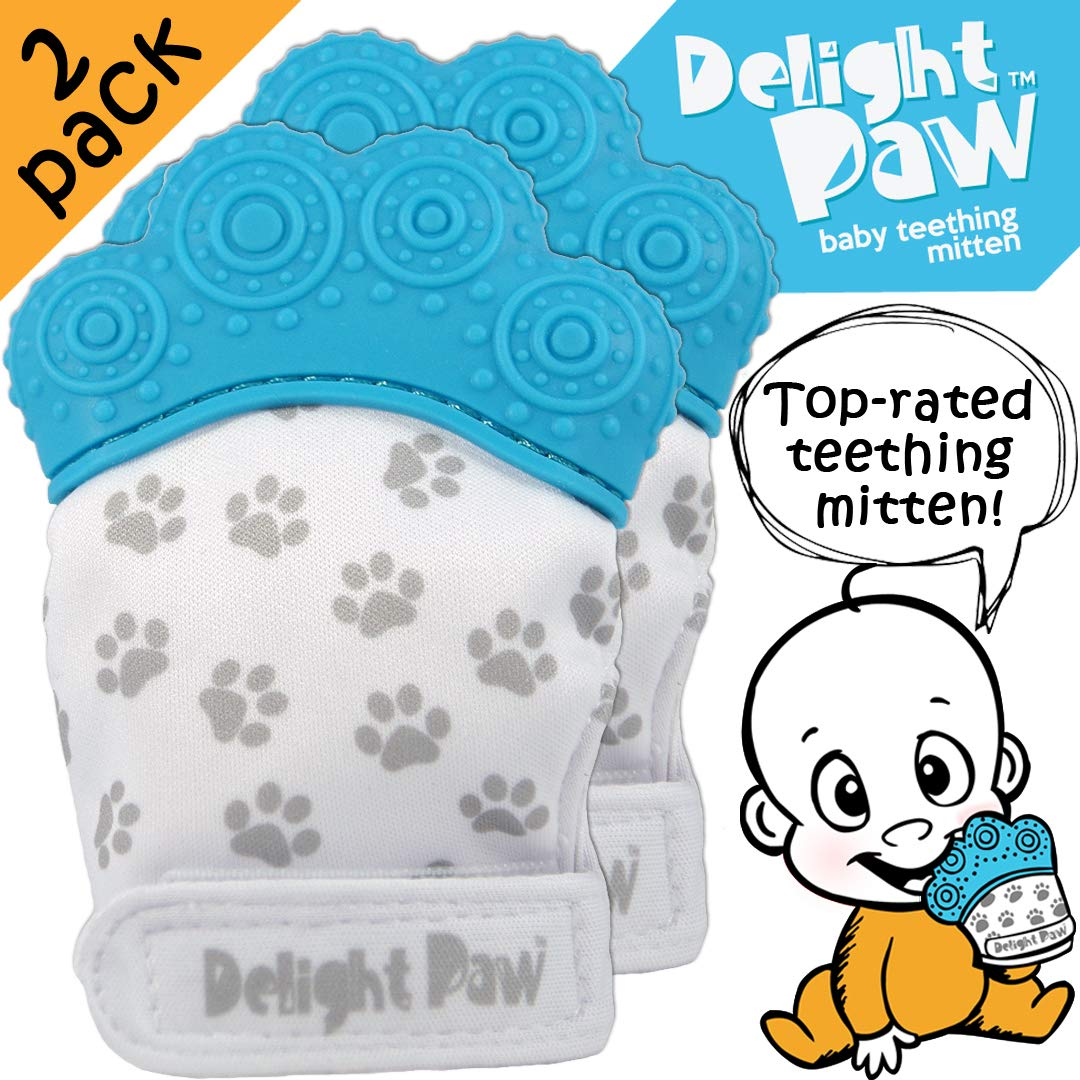 Delight Paw Baby Teethers   Baby Teething Mittens 2 Pack   Safe FDA Approved & BPA Free Teething Toys for Babies 0-6 Months   Soothing Pain Relief   Hygienic Travel Bag   Boy or Girl   Bubbly Blue