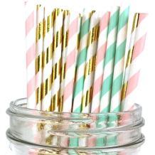 Just Artifacts Premium Biodegradable 100pcs Decorative Paper Straws (Color: Tea Time)