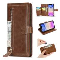 L-FADNUT Case for iPhone 11 Pro Wallet Case 5 Card Slots Premium Leather Zipper Purse Case Flip Kickstand Folio Magnetic Phone Case Handbag Protective Cover for iPhone 11 Pro Brown