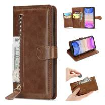 L-FADNUT Case for iPhone 11 Wallet Case 5 Card Slots Premium Leather Zipper Purse Case Flip Kickstand Folio Magnetic Phone Case Handbag Protective Cover for iPhone 11 Brown