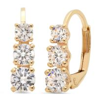2.70 CT 3 Stone ROUND CUT Simulated Diamond Earrings 14K Yellow Gold Past Present Future Leverback