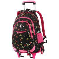 VBG VBIGER Rolling Backpack for Girls Wheeled Backpack Trolley School Bag Travel Luggage (Black)