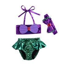 Kids Toddler Baby Girl Mermaid Swimsuits Halter Swimwear Bikini Set with Headband 3Pcs Set