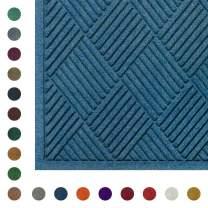 "WaterHog Diamond Fashion | Commercial-Grade Entrance Mat - Indoor/Outdoor Quick-Drying, Stain Resistant Door Mat (Medium Blue, 12.2' Length x 3' Width x 3/8"" Thick)"