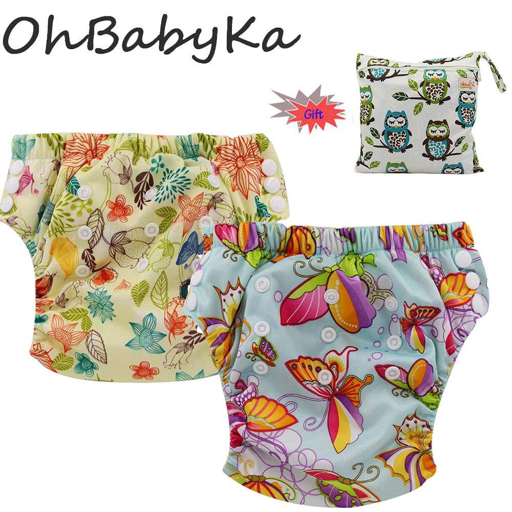 Ohbabyka Baby Training Pants,Baby Diapers Waterproof Pants 2PCS +A Wet Bag (XLK0812)