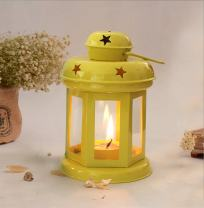 CraftVatika Handmade Iron Lantern - Tealight Holder - Decorative Candle Hanging Holders for Ceremony Wedding Centerpiece and Home Decor (Yellow)