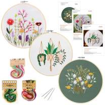 3 Pack Embroidery Starter Kit, with Pattern Plants and Instructions, Stamped Embroidery Kits, 3 PCS Embroidery Cloth, 1 Embroidery Hoop, Color Threads Tools Kit, for DIY Decor Living Room (White)