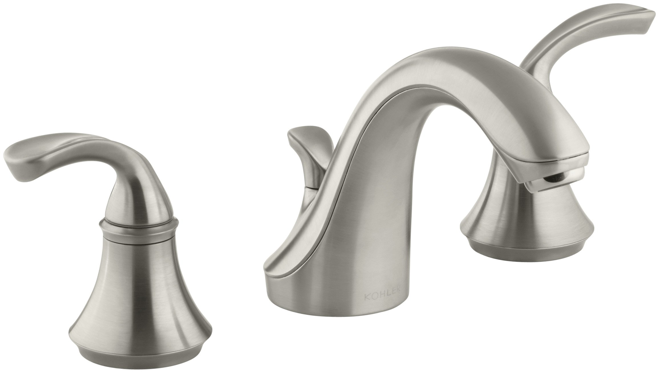 Bathroom Faucet by KOHLER, Bathroom Sink Faucet, Forte Sculpted Collection, 2-Handle Widespread Faucet with Metal Drain, Vibrant Brushed Nickel, K-10272-4-BN