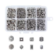 Kissitty 385pcs 8 Styles Tibetan Antique Silver Spacer Beads Tibetan Alloy Jewelry Beads Tube Metal Spacers for Bracelet Necklace Jewelry Making (Lead Free & Nickel Free & Cadmium Free)
