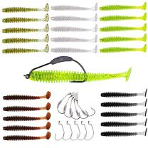 YONGZHI Fishing Lures for bass Trout Walleye Paddle Tail swimbaits Fishing Worms with Weighted Fishing Hooks for Freshwater and Saltwater Fishing with Free Tackle Box