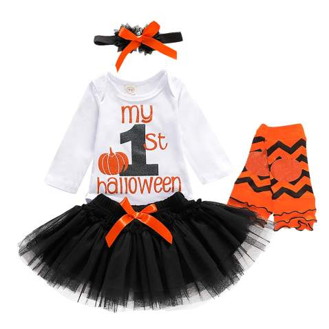 Infant Baby Girl Halloween Tutu Dress Funny Letter Print Romper Bodysuit Tulle Skirt Set with Leg Warmers and Headband