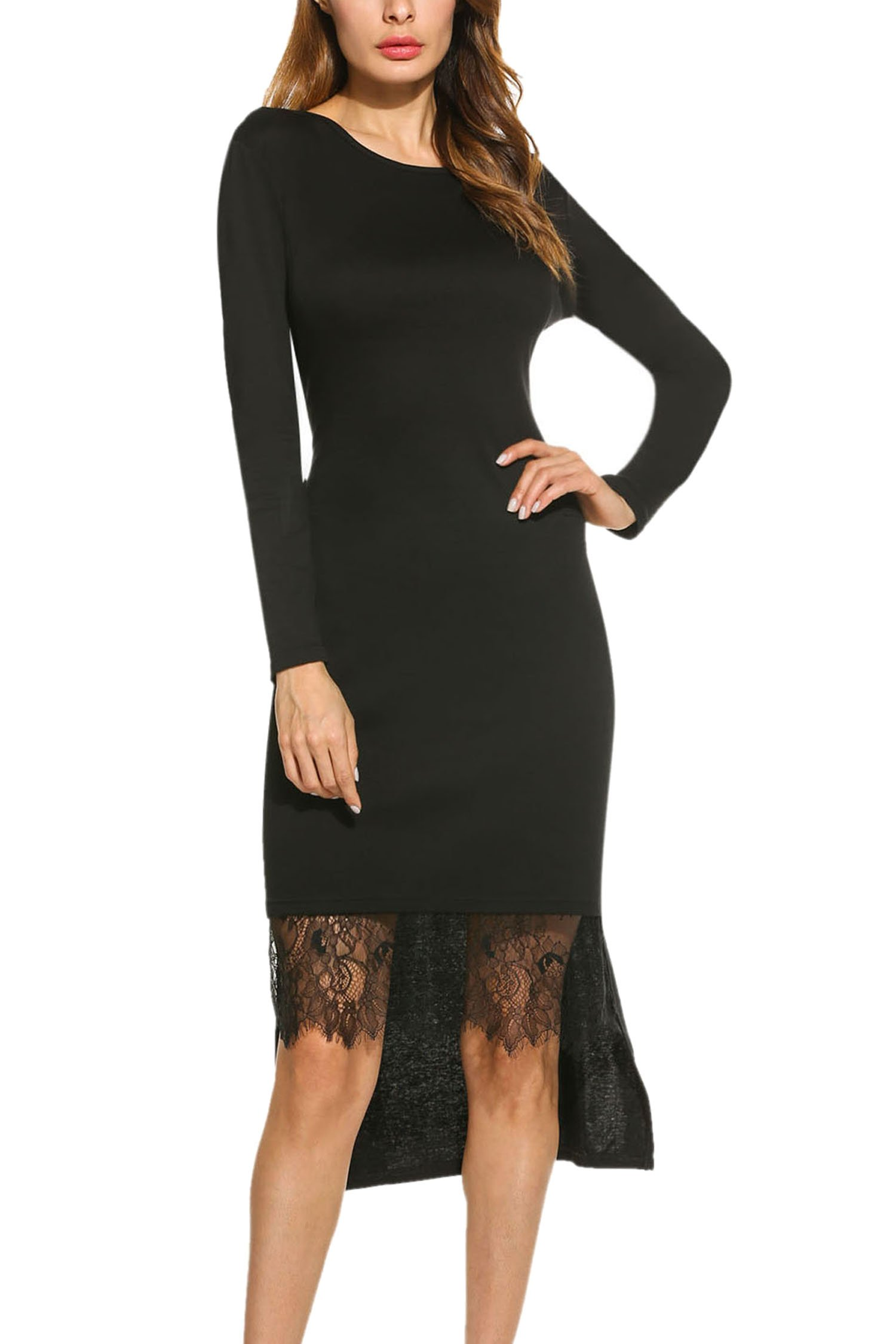 Meaneor Women's Lace Patchwork Asymmetrical Dress Long Sleeve High Low Hem