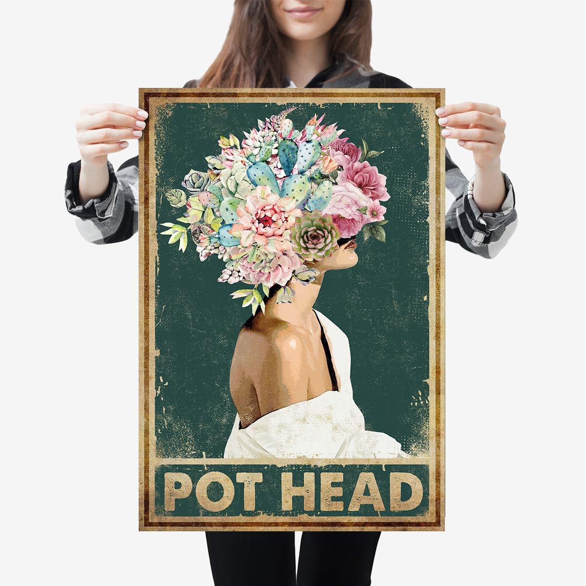 Pot Head Gardening Girl Flower Plant Lovers Gardener Portrait Vertical Poster Print Wall Art Hanging Home Decor Office Decorations
