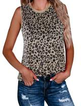 BMJL Women's Leopard Print Top Cute Spaghetti Strap Tank Sleeveless Camisole V Neck Cami Vest