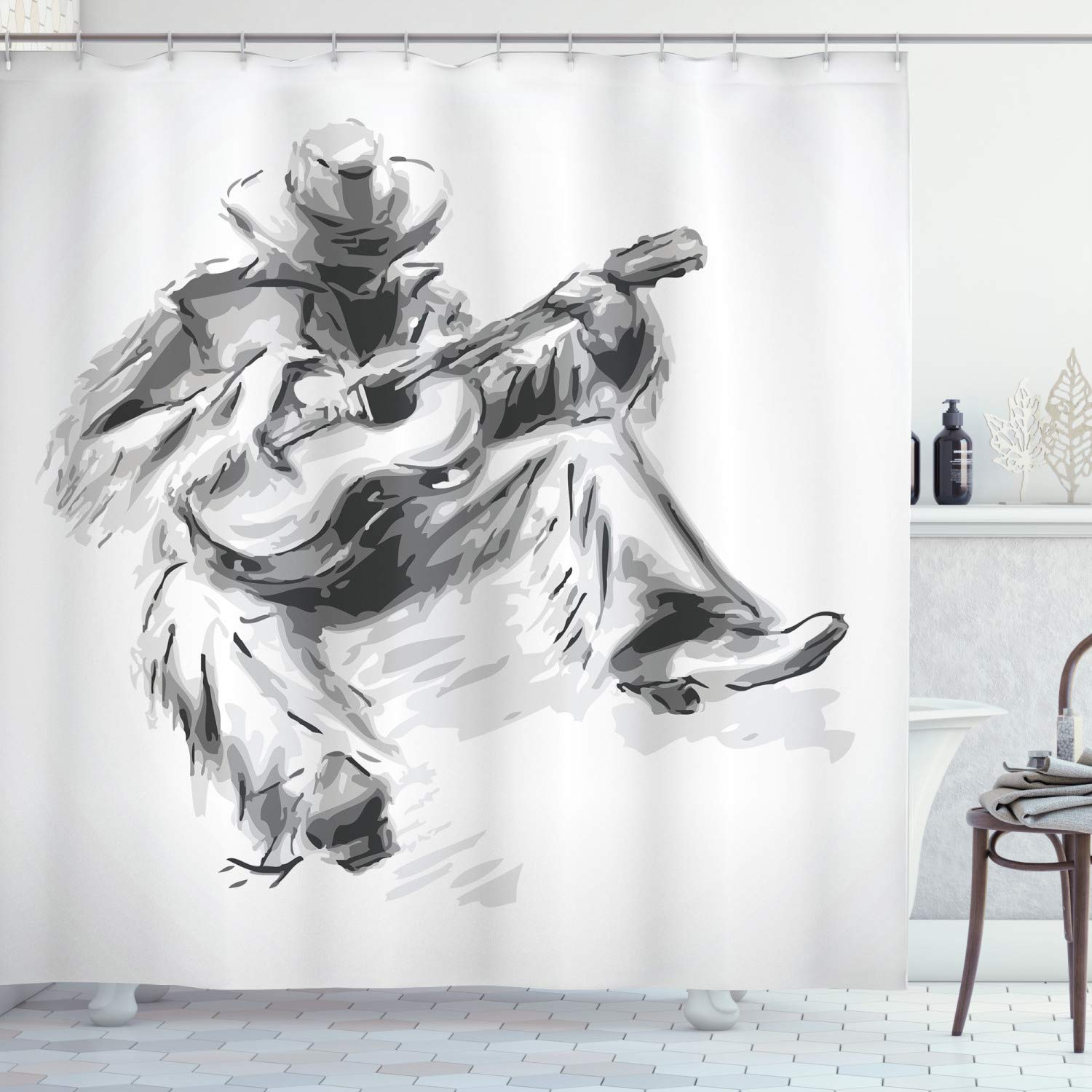 """Ambesonne Music Shower Curtain, Illustration of a Cowboy Sitting on The Floor and Playing The Guitar Print, Cloth Fabric Bathroom Decor Set with Hooks, 75"""" Long, Black Grey"""