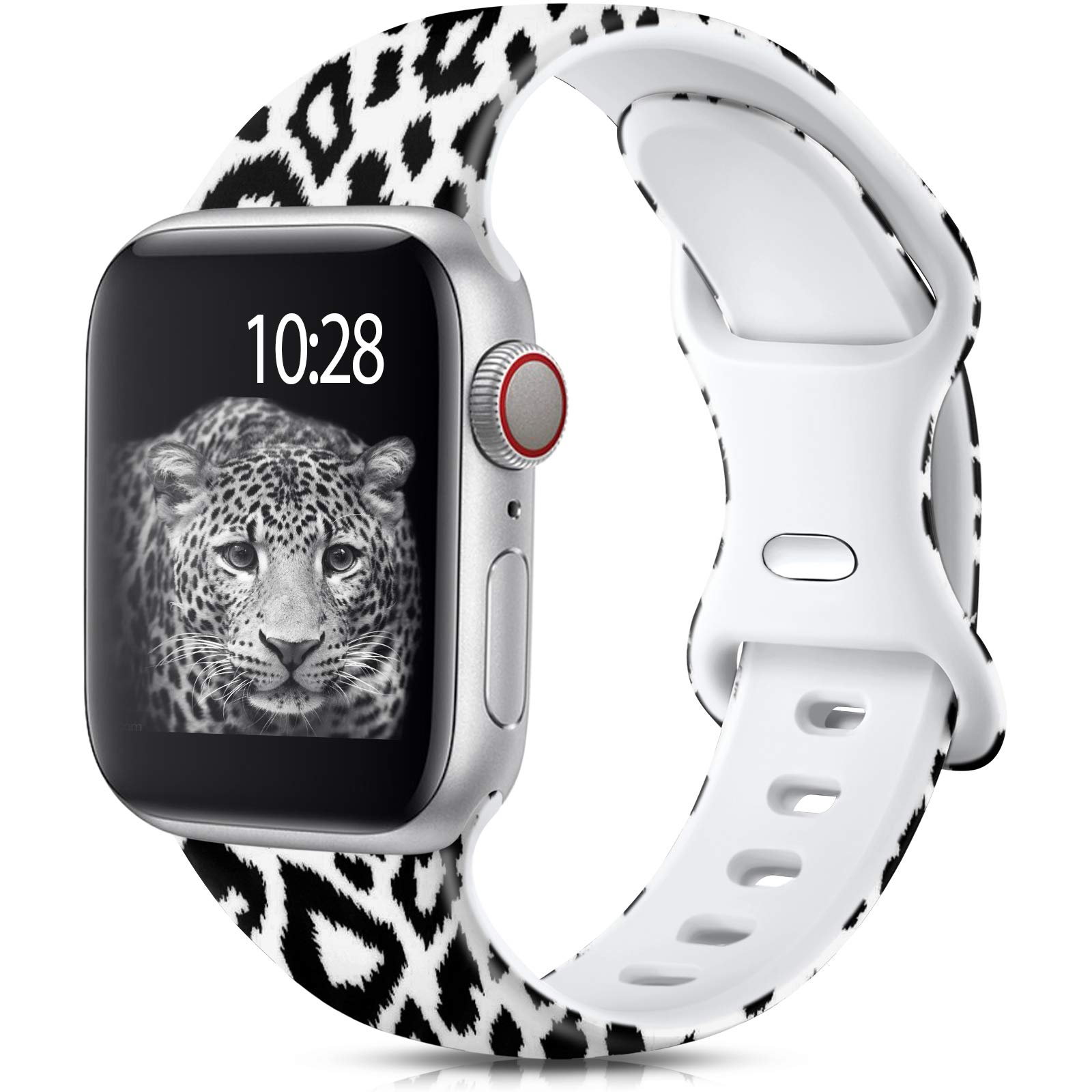 Muranne Compatible with Apple Watch Band SE 40mm 38mm for Women Men, Fancy Fadeless Printed Replacement Wristbands Soft Silicone Sport Bands for iWatch Series 6 5 4 3 2 1, Black Leopard, S/M