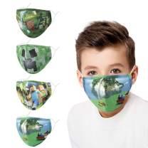 Wrakus Kids Reusable Cloth Face Mask wit Adjustable Ear Loops for Boys Girls Gift