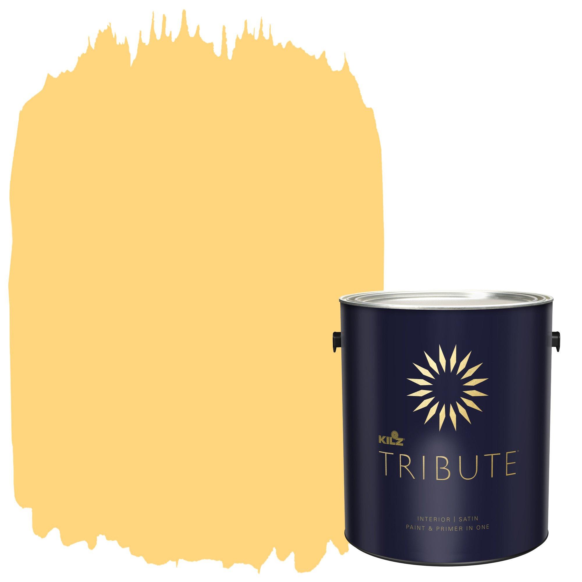 KILZ TRIBUTE Interior Satin Paint and Primer in One, 1 Gallon, Jazz Age Yellow (TB-85)