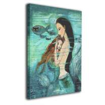Colla Mermaid Canvas Print Wall Art Photo Paintings Artwork Wall Decor for Bathroom Girls Living Room Framed and Ready to Hang 16x20 Inches