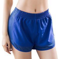 MTSCE Women's Yoga Shorts Yoga Pants Gym Workout Running Shorts (Large, Blue)