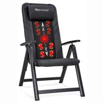 Folding Shiatsu Massage Chair Portable Recliner Chair with Heat Full Body Kneading Rollers Seat Neck Shoulder Back Massage for Office Home (PU-Black)