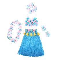 Hoter Hawaiian Hula Dancer Grass Skirt with Flower Costume Set, Six-Piece Artificial Grass Skirt Set