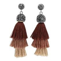 JOVIVI 3 Layered Tassel Earrings Colorful Bohemian Dangle Drop Tiered Tassel Crystal Stud Earrings Women Gifts