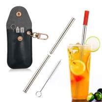 Metal Straws Telescopic with Case and Tips, Reusable Stainless Steel Straws with Keychain, Food Grade Collapsible Straws for 20oz/30oz Tumblers - Black