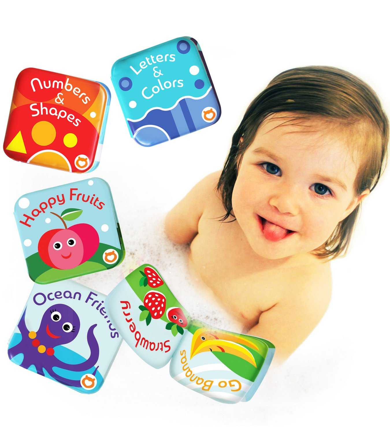 BabyBibi Floating Baby Bath Books. Kids Learning Bath Toys. Waterproof Bathtime Toys for Toddlers. Kids Educational Infant Bath Toys. (Set of 4: Fruit, Ocean, ABC, Numbers Books)