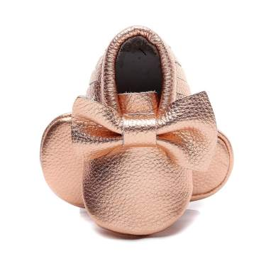 Bebila Genuine Leather Baby Moccasins Floral Print Slippers For Girls Bowknot Fringe Baby Shoes With Soft Sole For Infant Toddler First Walker