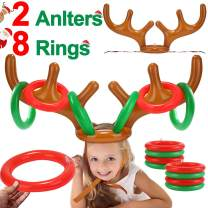 iGeeKid 2 Pack Inflatable Reindeer Antler Ring Toss Game Christmas Party Game Headband Inflatable Toys for Xmas Holiday Party Supplies Carnival Game(8 Rings, 2 Antlers)