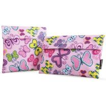Ava & Kings 2pc Eco Friendly Reusable Snack Bags Sandwich Wrap w/Insulated Fabric - Great for School Lunch, Work, Picnic Food, Boys & Girls - Sizes: 7x7 in & 6x9 in - Pink Butterfly